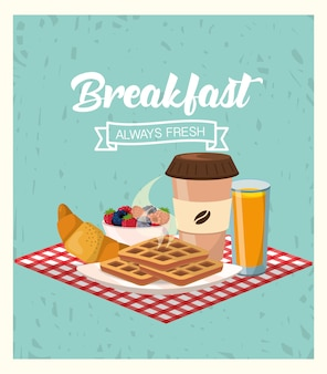 Frühstück mit brombeeren und erdbeeren mit saft