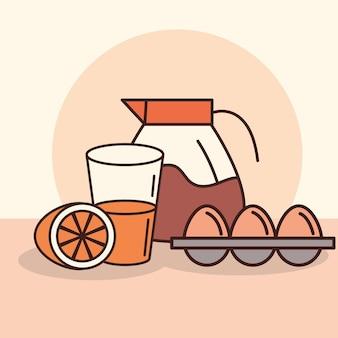 Frühstück mit eiern, orangensaft und kaffeekanne im direkten stil