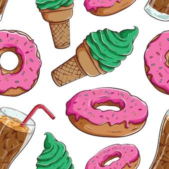 Frühstück oder mittagessen nahtlose muster mit donuts