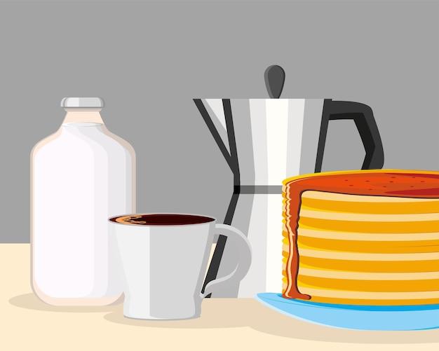 Frühstück pfannkuchen kaffee