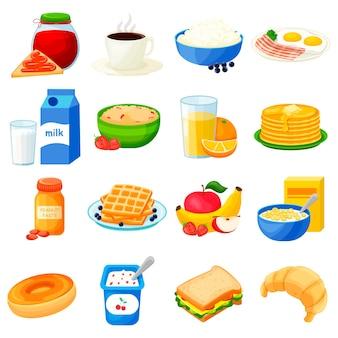 Frühstücke. große reihe von flachen symbolen. getrennt über weißem hintergrund. gesundes frühstück. für ihre gestaltung.