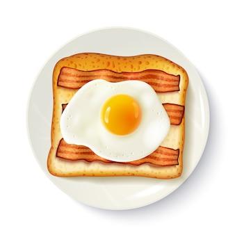 Frühstücks-sandwich-draufsicht-realistisches bild