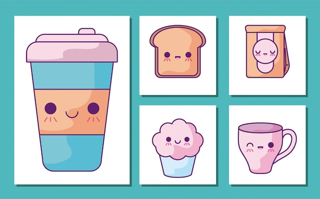 Frühstücks- und lebensmittelkarikatur-ikonensatz
