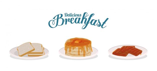 Frühstücksbrotwaffeln und -pfannkuchen entwerfen, lebensmittelmahlzeitfrischprodukt-naturmarktprämie und kochen thema vektorillustration