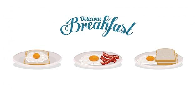 Frühstückseibrot und speckdesign, lebensmittelmahlzeitnaturproduktprämie und kochen von thema vektorillustration