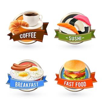 Frühstücksetiketten eingestellt