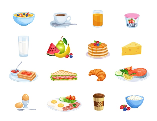 Frühstücksikonen. milch, kaffeetasse, saft, obst, fisch, sandwich und spiegeleier.