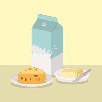 Frühstückskäse und butterdesign, lebensmittelmahlzeitfrischprodukt-naturmarktprämie und kochen von thema vektorillustration