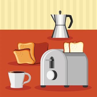 Frühstückskaffee toaster brot