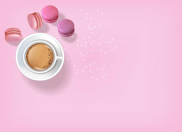 Frühstückskaffee und makronen