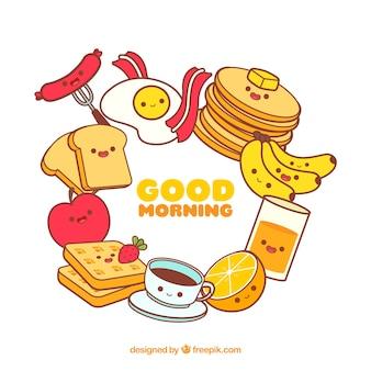 Frühstückslebensmittel-rahmenhintergrund