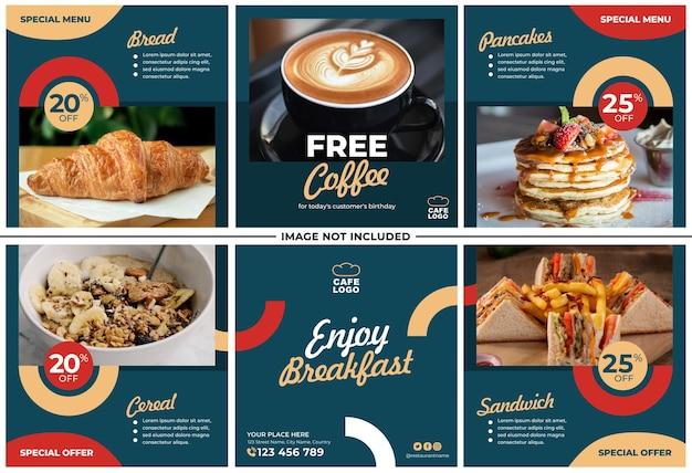 Frühstücksmenü promotion instagram post set Premium Vektoren