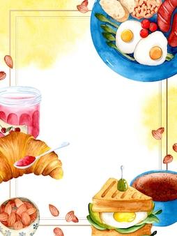 Frühstücksmenüschablone aquarellrahmen