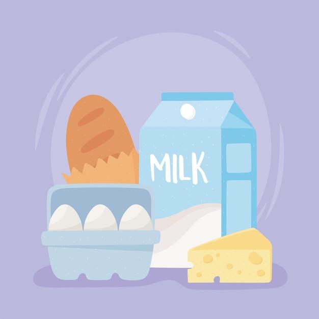 Frühstücksprodukte milchbrot eier und käse, lebensmitteleinkäufe