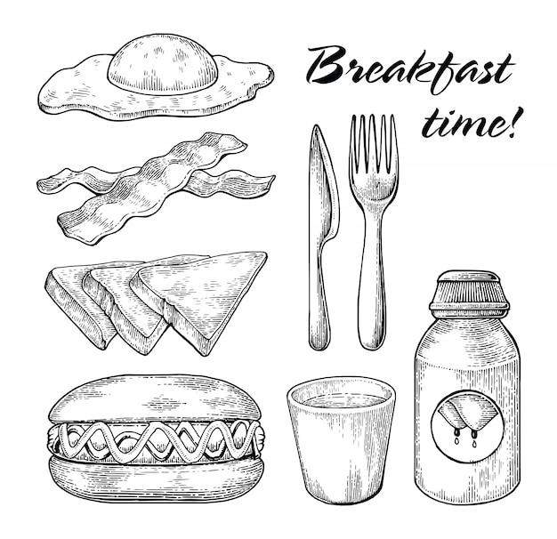 Frühstückssatzhand, die schwarzweiss-linie auf weißem hintergrund zeichnet
