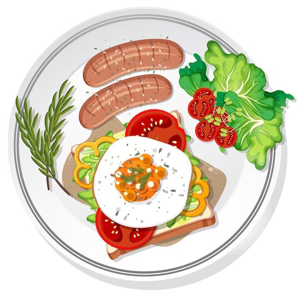 Frühstücksset auf dem teller isoliert