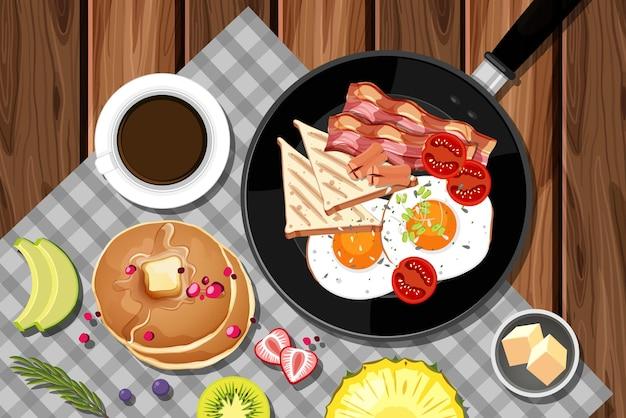 Frühstücksset in der pfanne isoliert