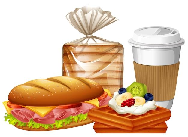 Frühstücksset mit waffeln und brot