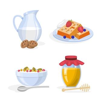 Frühstücksset. sammlung von gesunden mahlzeiten. ei