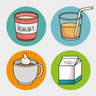 Frühstücksset tasse kaffee joghurt milchsaft