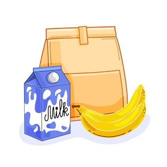 Frühstückstasche mit milch und banane auf weißem hintergrund. vektor-illustration.