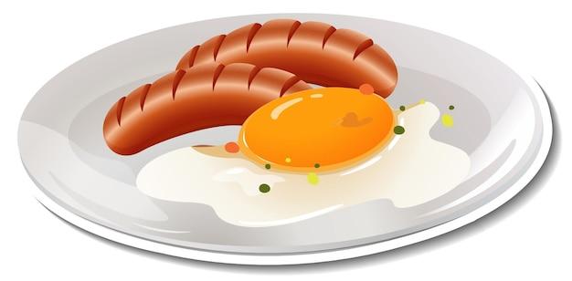 Frühstücksteller-aufkleber auf weiß