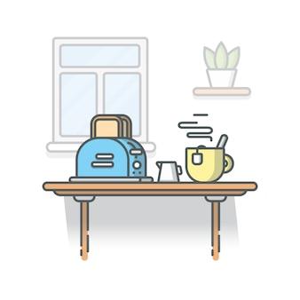 Frühstückszeit illustration. geröstetes brot mit heißem tee. design für frühstücksmenü, cafe und restaurant. isolierter weißer hintergrund