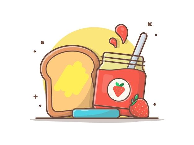 Frühstückszeit mit brot-und erdbeermarmelade-vektorclipart illustration