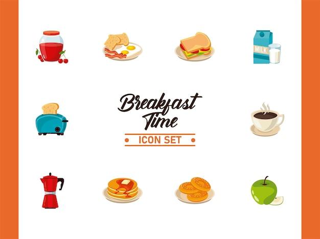 Frühstückszeit mit einem bündel von zehn zutaten
