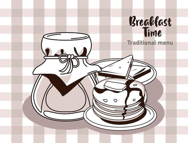 Frühstückszeit mit honig und pfannkuchen