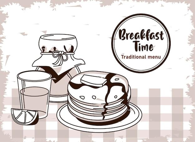 Frühstückszeit mit orangensaft und pfannkuchen