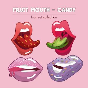 Fruit mouth & candy - icon-set-sammlung