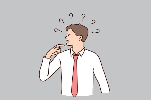 Frustration, herausforderung und risikokonzept. junge frustrierte geschäftsmann-cartoon-figur, die zweifel mit fragezeichen über der vektorgrafik steht