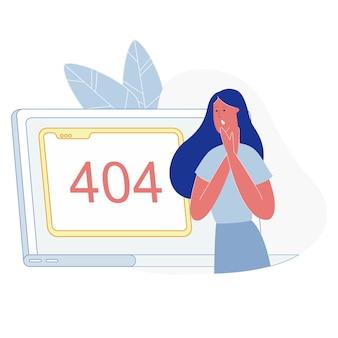Frustrierte frau, die auf der seite 404 nicht gefunden aufpasst