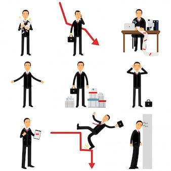 Frustrierter geschäftsmann-zeichensatz, geschäftliches und finanzielles versagen, bankrott, wirtschaftskrise, arbeitslosigkeit illustrationen