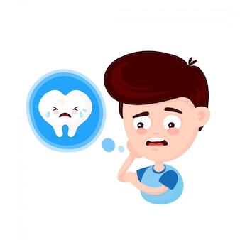 Frustrierter junger mann, der seine backe berührt und schmerzenden zahn glaubt