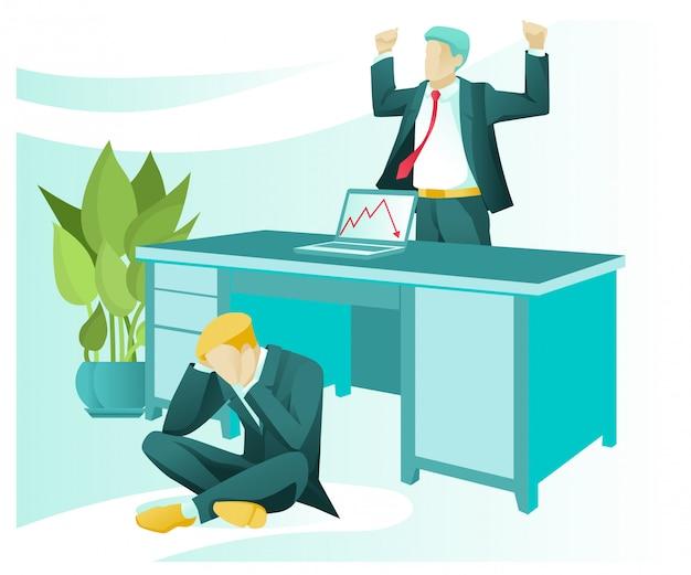 Frustrierter mitarbeiter, wütender chef, wirtschaftskrise