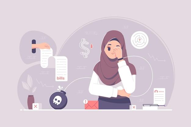 Frustriertes hijab-mädchen, das über schulden nachdenkt