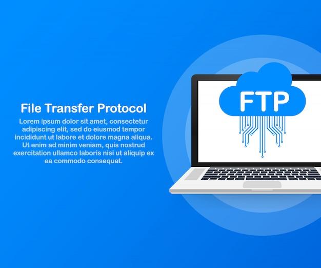 Ftp-dateiübertragung auf laptop. ftp-technologie. daten zum server übertragen. .