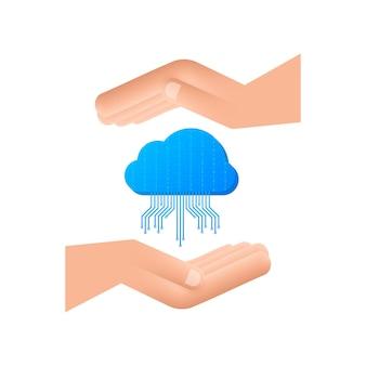 Ftp-dateiübertragungssymbol auf den händen. symbol für die ftp-technologie. daten zum server übertragen. vektor-illustration.
