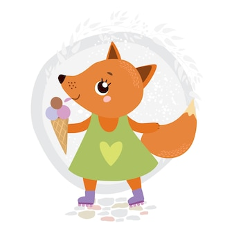 Fuchs auf rollschuhen mit eis