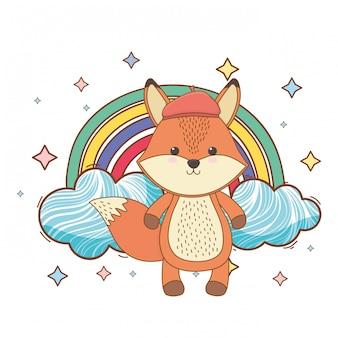 Fuchs cartoon mit hut
