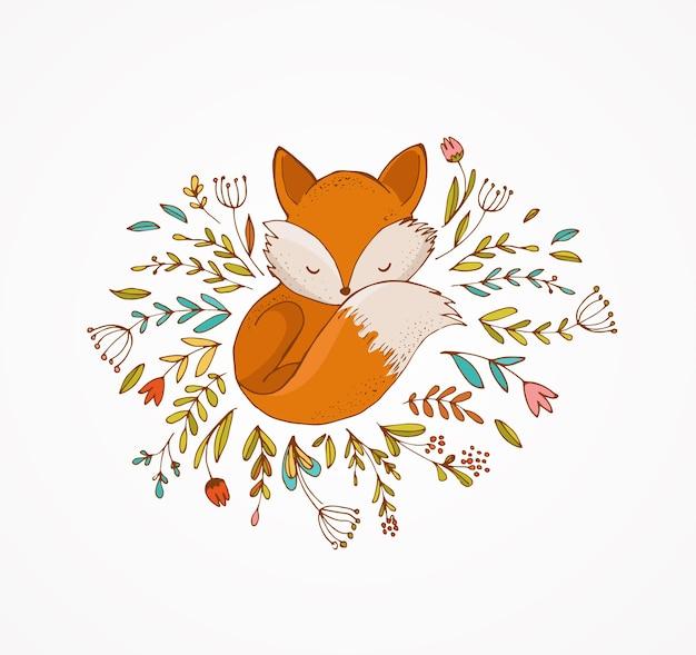 Fuchs, der auf den blumen schläft - reizende illustration und karte