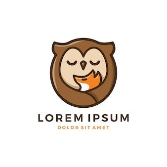 Fuchs eule baby und mutter logo