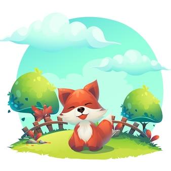 Fuchs im gras eine kinderkarikaturillustration