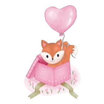 Fuchs im kasten mit ballon