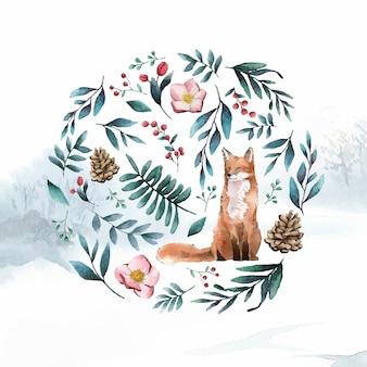 Fuchs in der natur gemalt von aquarell