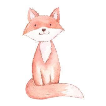Fuchs isoliert auf weißem hintergrund aquarell illustration