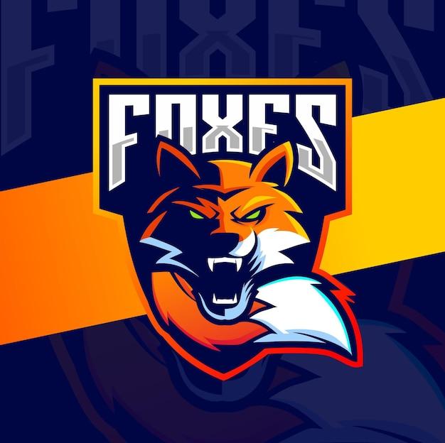 Fuchs maskottchen design für esport und gaming logo