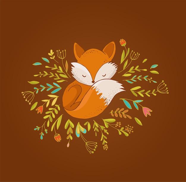 Fuchs, niedliche, reizende illustration und grußkarte